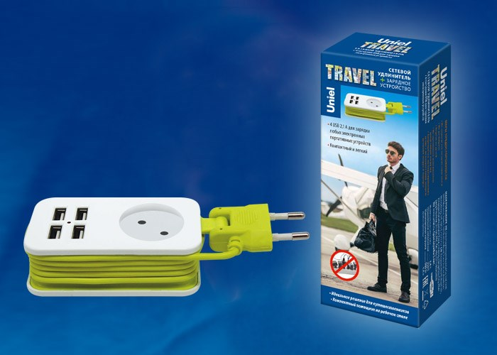 Удлинитель Travel 4USB+розетка S-CT1-1,5U WHITE/GREEN